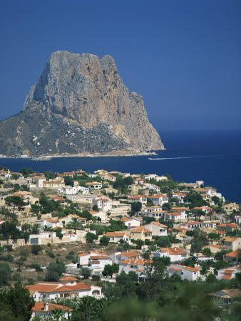 View over the Town of Calpe to the Rocky Headland of Penon De Ifach in Valencia, Spain