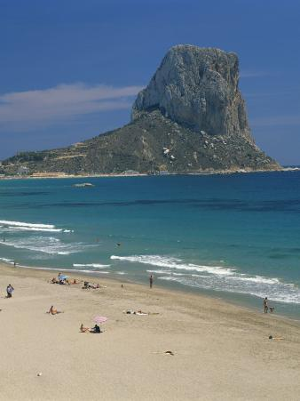Tourists on the Beach at Calpe and the Penon De Ifach, in Valencia, Spain, Mediterranean, Europe