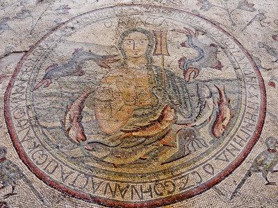 Personification of the Sea Floor Mosaic, Church of the Apostles, Madaba, Jordan, Middle East