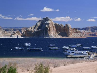 Boats Used for Recreation Moored in Wahweap Marina on Lake Powell in Arizona, USA
