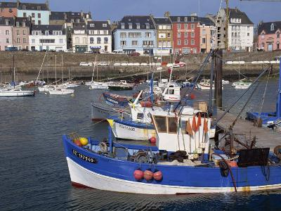 Fishing Boats in Harbour and Houses on Waterfront Beyond, Rosmeur, Douarnenez, Bretagne, France