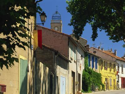 Colourful Houses and Church, Puyloubier, Near Aix-En-Provence, Bouches-Du-Rhone, Provence, France