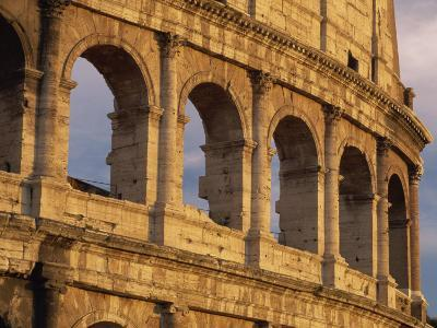 Detail of the Colosseum at Sunset, Rome, Lazio, Italy, Europe