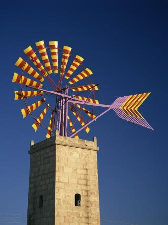 Windmill with Sails in the Colours of the Mallorcan Flag, Mallorca, Balearic Islands, Spain