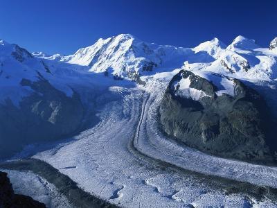 View to Liskamm and the Gorner Glacier, Gornergrat, Zermatt, Valais, Switzerland, Europe