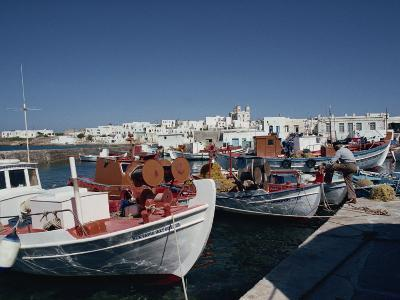Fishing Boats in the Harbour at Naoussa on Paros, Cyclades Islands, Greek Islands, Greece, Europe