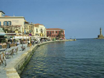 Harbour Waterfront and the Venetian Lighthouse, Chania, Crete, Greece, Europe