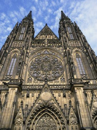 Facade of St. Vitus Cathedral, Prague, Czech Republic, Europe