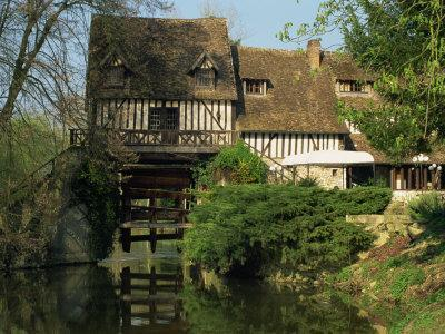Water Mill on Quiet Stretch of the River Seine, Ande, Eure, Haute Normandie, France