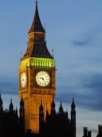 Big Ben at Dusk, Houses of Parliament, UNESCO World Heritage Site, Westminster, London, England, UK