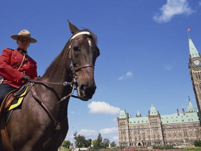Royal Canadian Mounted Policeman Outside the Parliament Building in Ottawa, Ontario, Canada