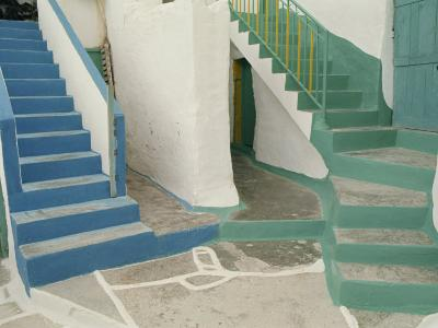 Detail of Painted Blue and Green Steps on Ios, Cyclades Islands, Greek Islands, Greece, Europe