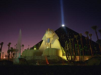 Luxor Hotel at Night, Las Vegas, Nevada, United States of America, North America
