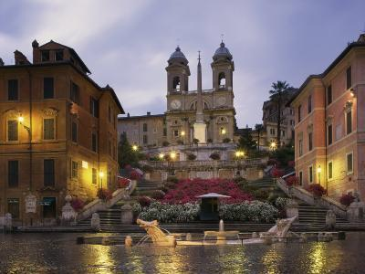 Spanish Steps Illuminated in the Evening, Rome, Lazio, Italy, Europe