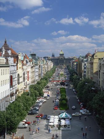 Wenceslas Square in the City of Prague, Czech Republic, Europe