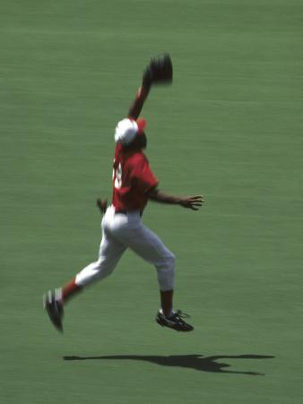 Baseball Player Leaping to Make a Catch