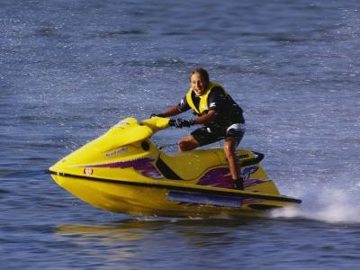 Teenage Boy Riding His Jetski