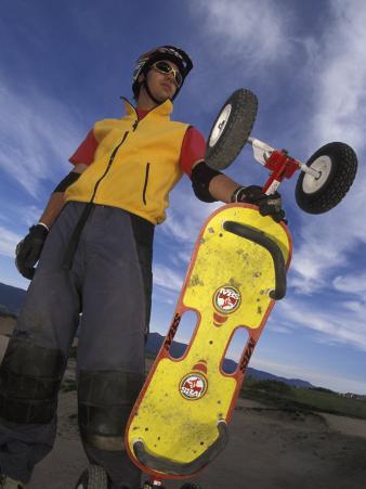 Portrait of Mountain Boarder, Colorado Springs, Colorado, USA