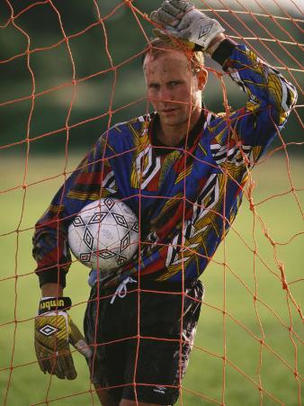 Portrait of Soccer Goalie in the Net