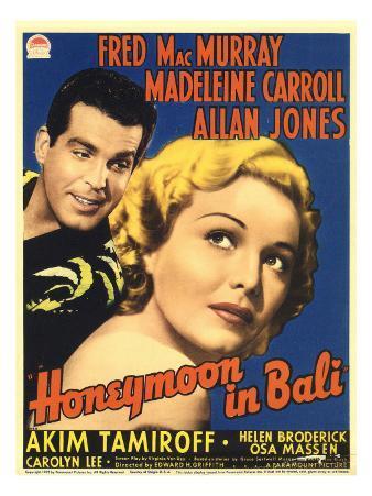 Honeymoon in Bali, Fred Macmurray, Madeleine Carroll on Midget Window Card, 1939