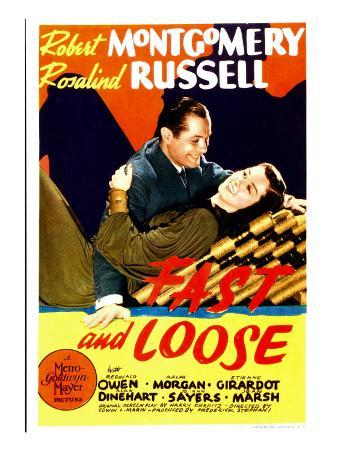 Fast and Loose, Robert Montgomery, Rosalind Russell on Midget Window Card, 1930