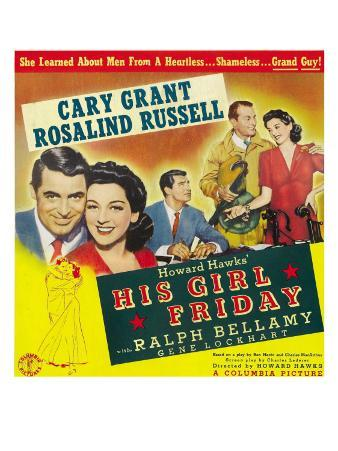 His Girl Friday, Cary Grant, Rosalind Russell, 1940