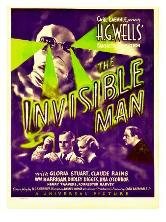 """The Invisible Man"", Claude Rains, Henry Travers, Gloria Stuart, William Harrigan on Window Card"