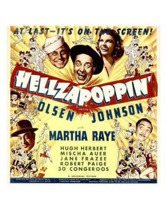 Hellzapoppin', Ole Olsen, Chic Johnson, Martha Raye, Hugh Herbert, Mischa Auer on Window Card, 1941