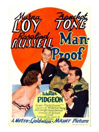 Man-Proof, Myrna Loy, Franchot Tone, Rosalind Russell, Walter Pidgeon on Midget Window Card, 1938