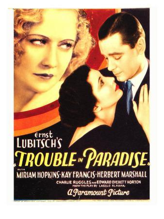 Trouble in Paradise, Miriam Hopkins, Kay Francis, Herbert Marshall on Midget Window Card, 1932