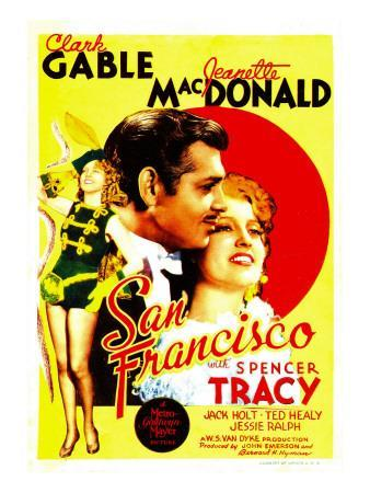 San Francisco, Jeanette Macdonald, Clark Gable, Jeanette Macdonald on Midget Window Card, 1936