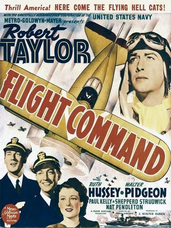 Flight Command, Walter Pidgeon, Robert Taylor, Ruth Hussey, Robert Taylor on Window Card, 1940