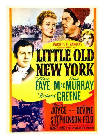 Little Old New York, Richard Greene, Alice Faye, Fred Macmurray on Midget Window Card, 1940