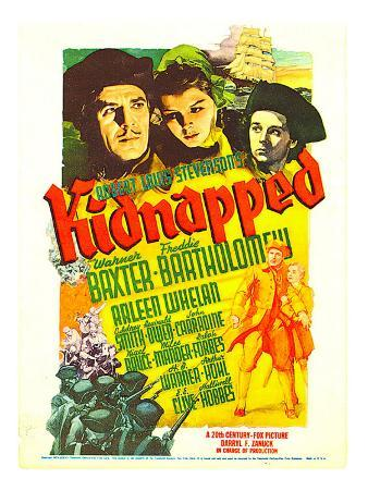Kidnapped, Warner Baxter, Arleen Whelan, Freddie Bartholomew on Midget Window Card, 1938