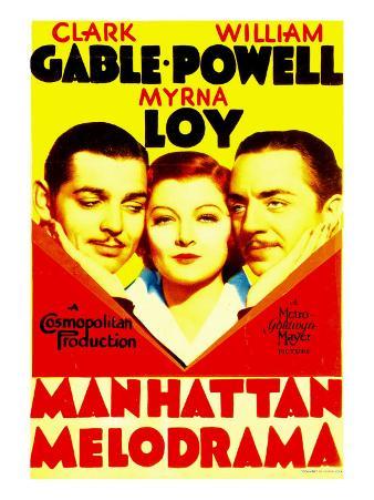 Manhattan Melodrama, Clark Gable, Myrna Loy, William Powell on Midget Window Card, 1934