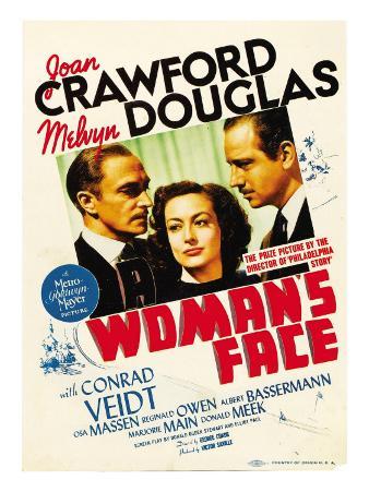 A Woman's Face, Conrad Veidt, Joan Crawford, Melvyn Douglas on Midget Window Card, 1941