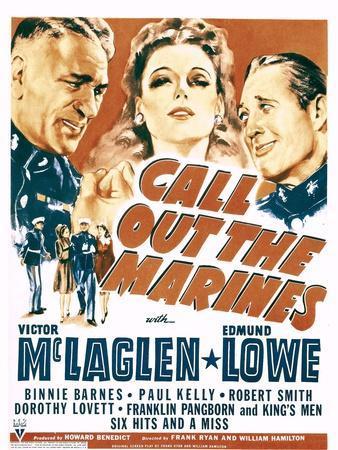 Call Out the Marines, Victor Mclaglen, Binnie Barnes, Edmund Lowe on Window Card, 1942
