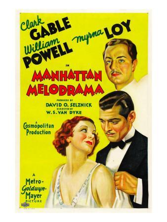 Manhattan Melodrama, William Powell, Myrna Loy, Clark Gable, 1934