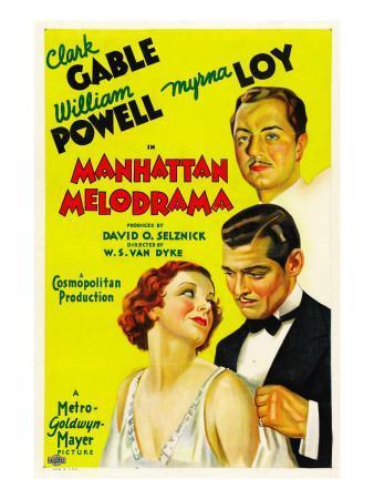 Manhattan Melodrama, William Powell, Myrna Loy, Clark Gable, 1934