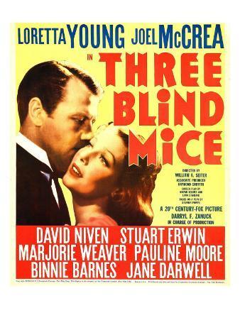 Three Blind Mice, Joel Mccrea, Loretta Young on Window Card, 1938