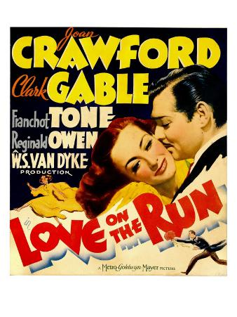 Love on the Run, Joan Crawford, Clark Gable on Window Card, 1936