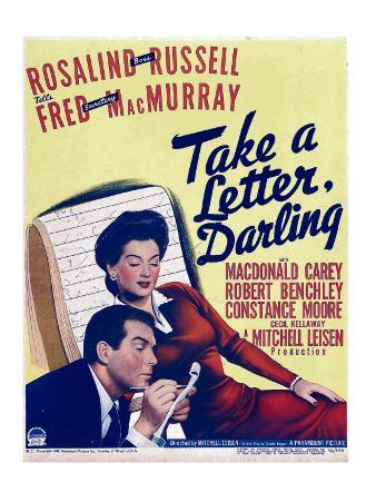 Take a Letter, Darling, Fred Macmurray, Rosalind Russell on Window Card, 1942