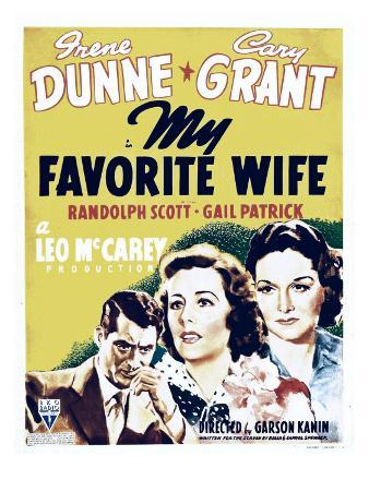 My Favorite Wife, Cary Grant, Irene Dunne, Gail Patrick on Window Card, 1940