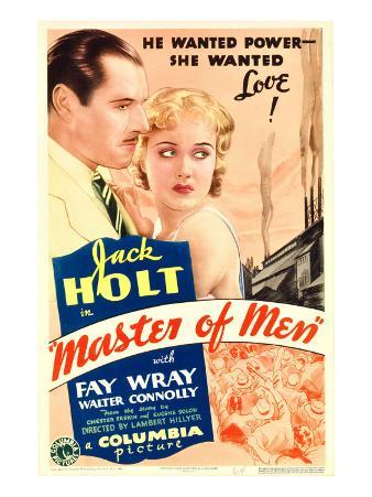 Master of Men, Jack Holt, Fay Wray on Midget Window Card, 1933