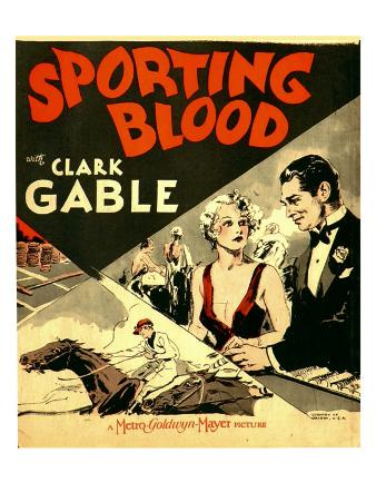 Sporting Blood, Madge Evans, Clark Gable on Window Card, 1931