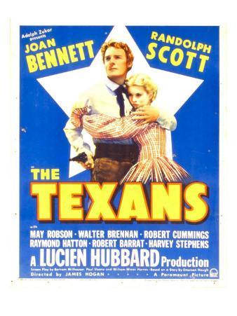 The Texans, Randolph Scott, Joan Bennett on Window Card, 1938