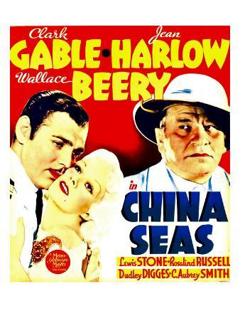 China Seas, Clark Gable, Jean Harlow, Wallace Beery on Window Card, 1935