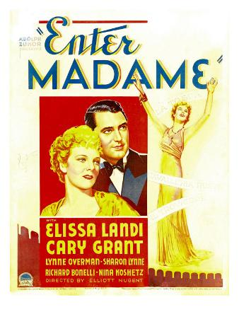 Enter Madame, Elissa Landi, Cary Grant on Window Card, 1935