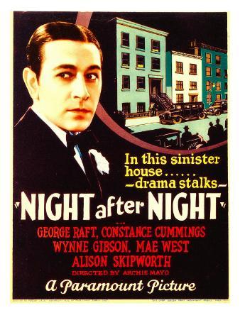 Night after Night, George Raft on Midget Window Card, 1932