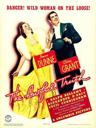 Awful Truth, Irene Dunne, Cary Grant on Window Card, 1937